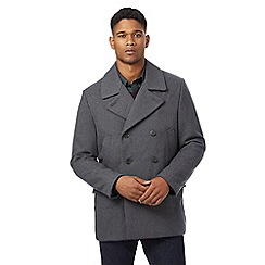 J by Jasper Conran - Big and tall grey herringbone textured wool-blend peacoat