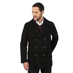 J by Jasper Conran - Big and tall black wool blend peacoat