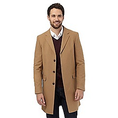 J by Jasper Conran - Big and Tall tan wool rich epsom coat