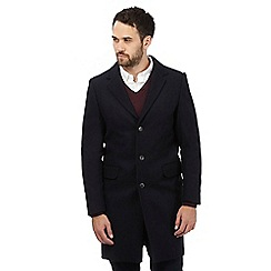 J by Jasper Conran - Big and tall navy herringbone patterned overcoat