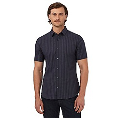 J by Jasper Conran - Navy grid patterned slim fit shirt