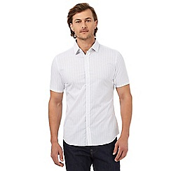 J by Jasper Conran - Big and tall white grid patterned slim fit shirt