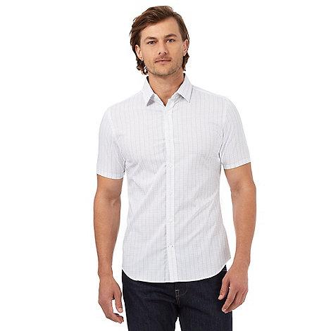 J by jasper conran big and tall white grid patterned slim for Slim fit tall shirts