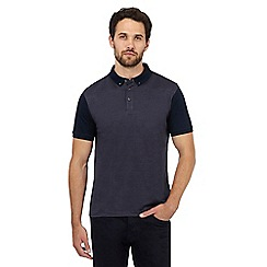 J by Jasper Conran - Big and tall dark blue jacquard polo shirt