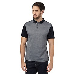 J by Jasper Conran - Black jacquard textured polo shirt