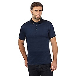 J by Jasper Conran - Big and tall navy mercerised textured diamond polo shirt