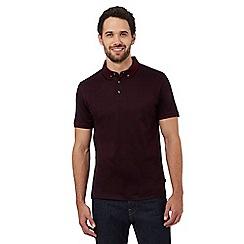 J by Jasper Conran - Big and tall dark red printed polo shirt