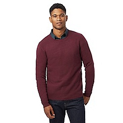 J by Jasper Conran - Dark red lambswool rich crew neck jumper