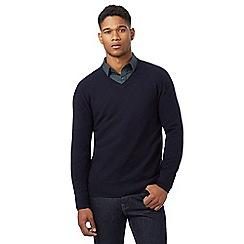 J by Jasper Conran - Navy lambswool rich V neck jumper