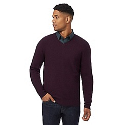 J by Jasper Conran - Dark purple lambswool rich V neck jumper