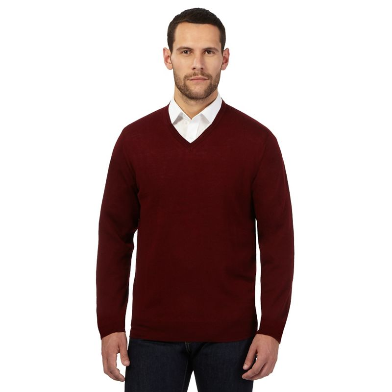 J by Jasper Conran Dark Red Merino Wool V Neck Jumper,