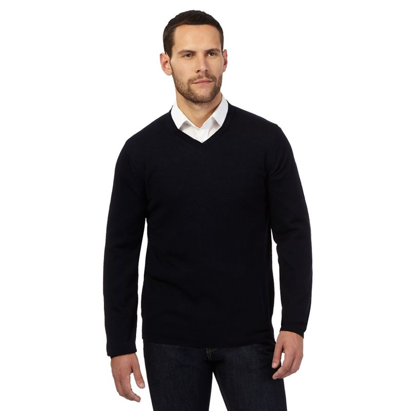 J by Jasper Conran Navy (Blue) Merino Wool V Neck Jumper,