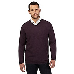 J by Jasper Conran - Big and tall dark purple merino wool V neck jumper