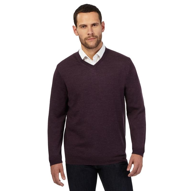 Big & Tall J by Jasper Conran Dark Purple Merino Wool V