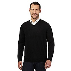 J by Jasper Conran - Black Merino wool V neck jumper