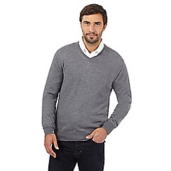 J by Jasper Conran - Grey Merino wool crew neck jumper