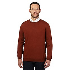 J by Jasper Conran - Big and tall dark orange merino wool crew neck jumper