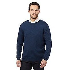 J by Jasper Conran - Dark blue Merino wool crew neck jumper