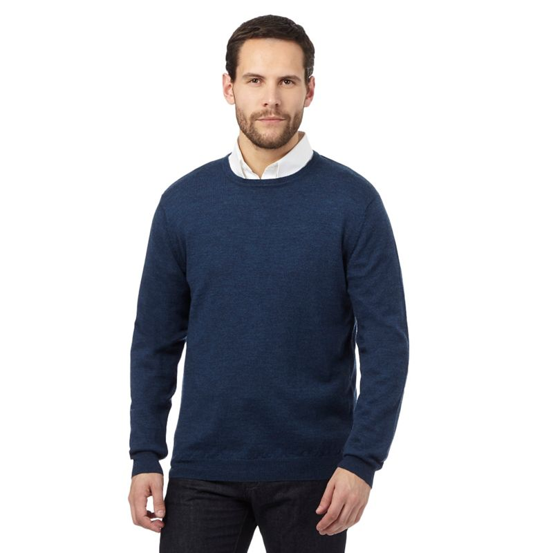 J by Jasper Conran Dark Blue Merino Wool Crew Neck Jumper,