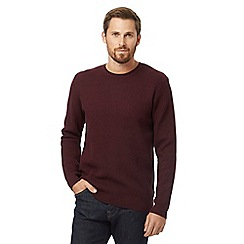 J by Jasper Conran - Red waffle texture cotton blend jumper