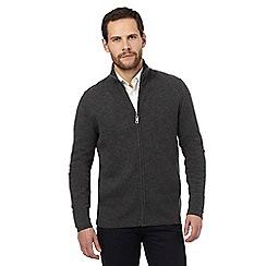J by Jasper Conran - Grey pure wool zip through sweater