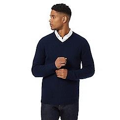 J by Jasper Conran - Navy merino wool v neck jumper with gift box