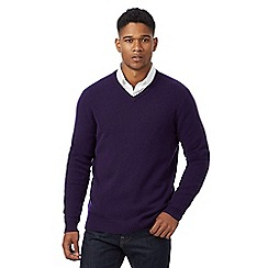 J by Jasper Conran - Purple merino wool with cashmere v neck jumper and gift box