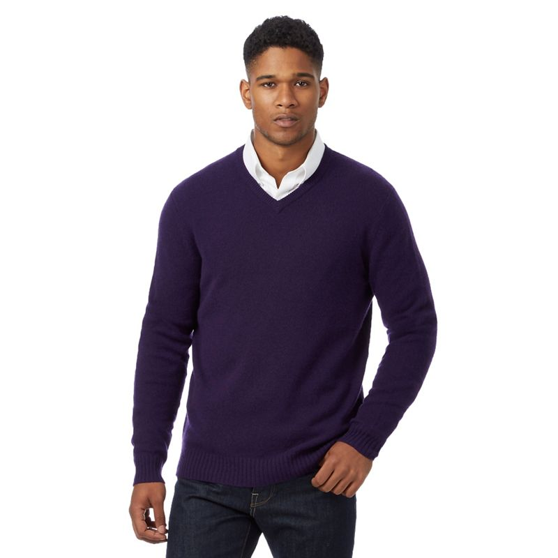 J by Jasper Conran Purple Merino Wool With Cashmere V Neck
