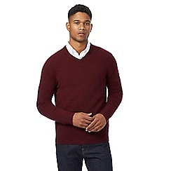 J by Jasper Conran - Plum merino wool with cashmere v neck jumper and gift box