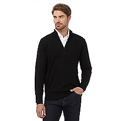 J by Jasper Conran - Big and tall black pure merino wool funnel neck sweater