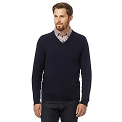 J by Jasper Conran - Big and tall navy pure cashmere v neck jumper in a gift box