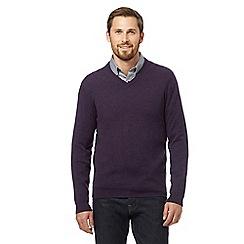 J by Jasper Conran - Dark purple pure cashmere V neck jumper in a gift box