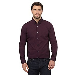 J by Jasper Conran - Big and tall dark purple geometric print regular fit shirt