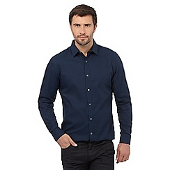 J by Jasper Conran - Big and tall navy checked dobby regular fit