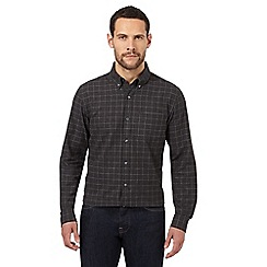 J by Jasper Conran - Big and tall dark grey windowpane check shirt