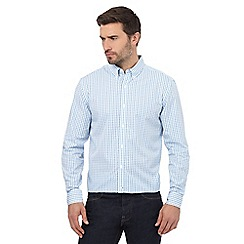 J by Jasper Conran - Big and tall white and blue checked print regular fit shirt