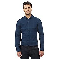 J by Jasper Conran - Big and tall dark turquoise checked print slim fit shirt
