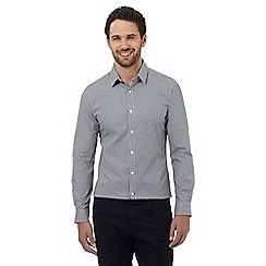J by Jasper Conran - Navy gingham stretch fit shirt