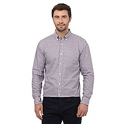 J by Jasper Conran - Big and tall dark purple gingham checked print regular fit shirt
