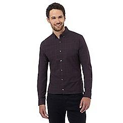 J by Jasper Conran - Big and tall navy windowpane checked slim fit shirt