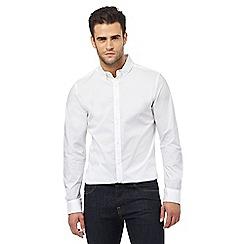 J by Jasper Conran - Big and tall white long sleeved slim fit shirt