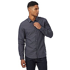 J by Jasper Conran - Navy jacquard patterned regular fit shirt