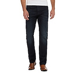 J by Jasper Conran - Big and tall dark blue whisker effect straight leg jeans