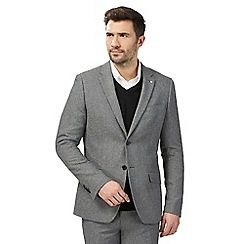 J by Jasper Conran - Big and tall grey textured single breasted jacket with wool