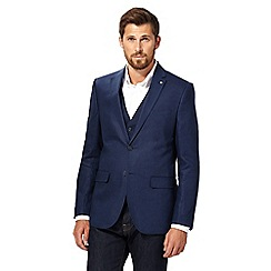 J by Jasper Conran - Big and tall navy single-breasted linen blazer