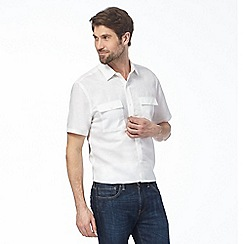 J by Jasper Conran - Big and tall white linen rich utility shirt