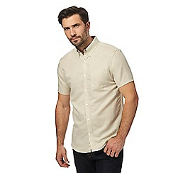 J by Jasper Conran - Big and tall beige linen blend regular fit shirt