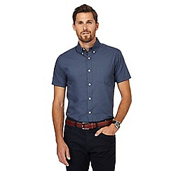 J by Jasper Conran - Blue geometric print regular fit shirt