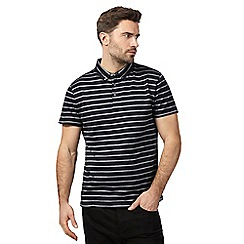 J by Jasper Conran - Navy striped print textured polo shirt