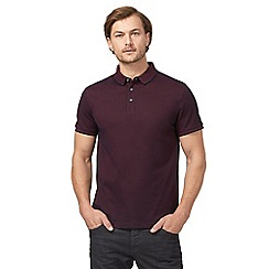 J by Jasper Conran - Big and tall dark red textured polo shirt